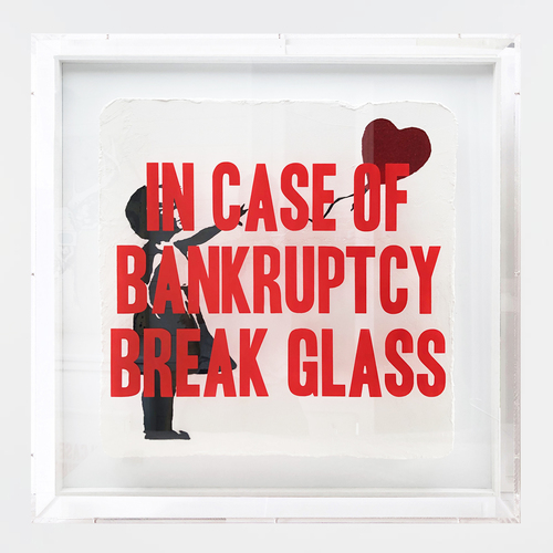 In case of Bankruptcy - Ballon Girl Red Glitter (90x90cm)