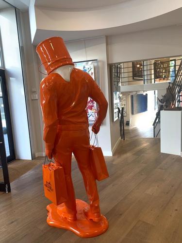 shopping Man in Art - blanc et orange Hermés
