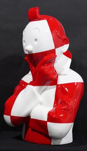 """TINTIN Penseur - """"L'ordre et le chaos"""" Fusée damier rouge et blanc sur socle """"On a marché sur la lun"""