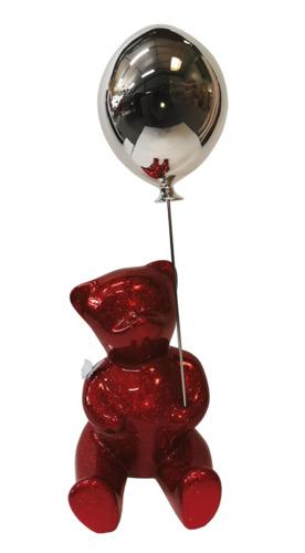 Brainy Red Glitter Balloon Silver (résine - paillettes)