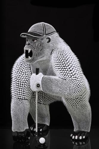 Gorille Golfeur Noir Nacré, 2021 (100 cm)