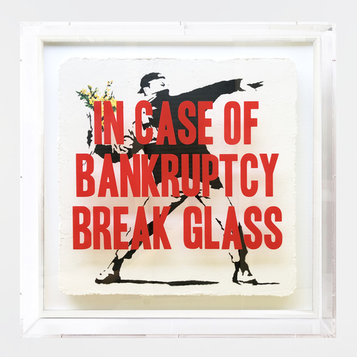 In Case of Bankruptcy - Banksy Yellow Flower Thrower (90x90 cm)